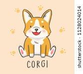 cute corgi dog cartoon hand... | Shutterstock .eps vector #1128024014