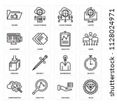set of 16 icons such as value ...