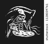 grim reaper eating pizza  ... | Shutterstock .eps vector #1128039761
