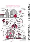amusement park vector line... | Shutterstock .eps vector #1128041267