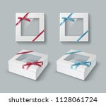 white gift boxes with... | Shutterstock .eps vector #1128061724