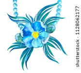 wedding blue flower and pearl | Shutterstock . vector #1128062177