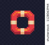 lifebuoy pixel art icon ... | Shutterstock .eps vector #1128063944