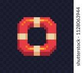 lifebuoy pixel art icon ...   Shutterstock .eps vector #1128063944
