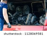 engine maintenance  inspection... | Shutterstock . vector #1128069581