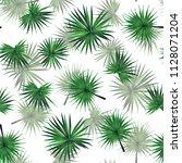 palm monstera seamless pattern. ... | Shutterstock .eps vector #1128071204