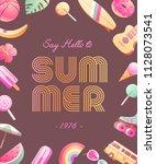 the 70's. hot summer flyer  ... | Shutterstock .eps vector #1128073541