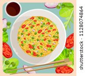fried rice with vegetables and... | Shutterstock .eps vector #1128074864