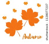 autumn yellow leaves of chestnut | Shutterstock .eps vector #1128077237
