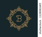 b letter luxury logo template...   Shutterstock .eps vector #1128082685