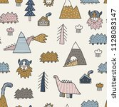 childish seamless pattern with... | Shutterstock .eps vector #1128083147