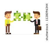 two business man holding puzzle ... | Shutterstock .eps vector #1128096344