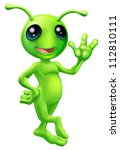 Illustration of a cute cartoon little green man alien mascot with antennae smiling and waving - stock photo