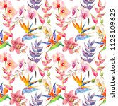 trendy simple floral pattern.... | Shutterstock . vector #1128109625