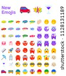 big set of new modern emojis ... | Shutterstock .eps vector #1128131189