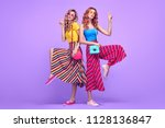 two playful sisters friends... | Shutterstock . vector #1128136847