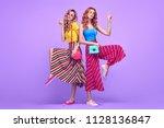 full length photo of two... | Shutterstock . vector #1128136847