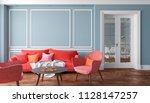 classic gray interior living... | Shutterstock . vector #1128147257