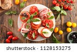 collection of bruschettas | Shutterstock . vector #1128153275
