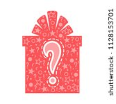 secret gift box with a question ... | Shutterstock .eps vector #1128153701