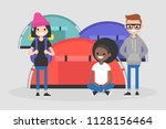a group of young tourists... | Shutterstock .eps vector #1128156464