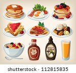 classic breakfast cartoon set... | Shutterstock .eps vector #112815835