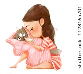 cute cartoon girl with baby cat | Shutterstock . vector #1128165701