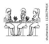 women in the table drinking... | Shutterstock .eps vector #1128179414