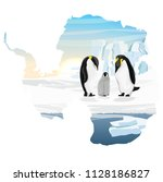family of emperor penguins with ... | Shutterstock .eps vector #1128186827