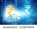 business graph with rupee sign. ... | Shutterstock . vector #1128192044