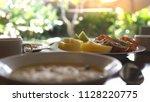healthy delicious breakfast... | Shutterstock . vector #1128220775