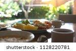 healthy delicious breakfast... | Shutterstock . vector #1128220781