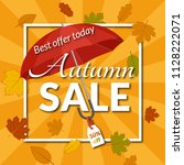 colorful poster for autumn sale ... | Shutterstock . vector #1128222071