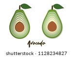 set of paper cut green avocado  ... | Shutterstock . vector #1128234827