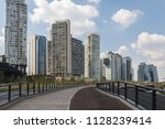 empty footpath and cycling lane ...   Shutterstock . vector #1128239414