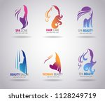 silhouettes of a girl faces... | Shutterstock .eps vector #1128249719