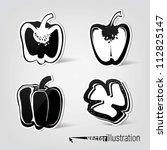 set of vector decorative peppers | Shutterstock .eps vector #112825147