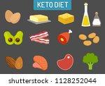 ketogenic keto diet food vector ... | Shutterstock .eps vector #1128252044