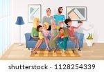 happy members of big family... | Shutterstock .eps vector #1128254339