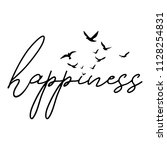 happiness   word with flying... | Shutterstock .eps vector #1128254831