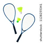 top view of pair of rackets and ... | Shutterstock . vector #1128255341
