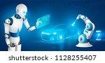 humanoid robot producing... | Shutterstock .eps vector #1128255407
