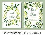 wedding invitation frames with... | Shutterstock .eps vector #1128260621