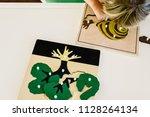 boy students child's hands... | Shutterstock . vector #1128264134