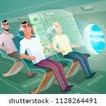 airplane passengers sitting in... | Shutterstock .eps vector #1128264491