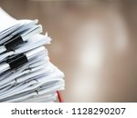 stack of document on the table  ... | Shutterstock . vector #1128290207