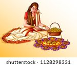 vector design of indian lady... | Shutterstock .eps vector #1128298331