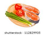 Two Raw Salmon Steaks With...
