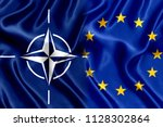 flag of the european union and... | Shutterstock . vector #1128302864
