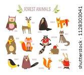 forest animals vector cartoon... | Shutterstock .eps vector #1128303041